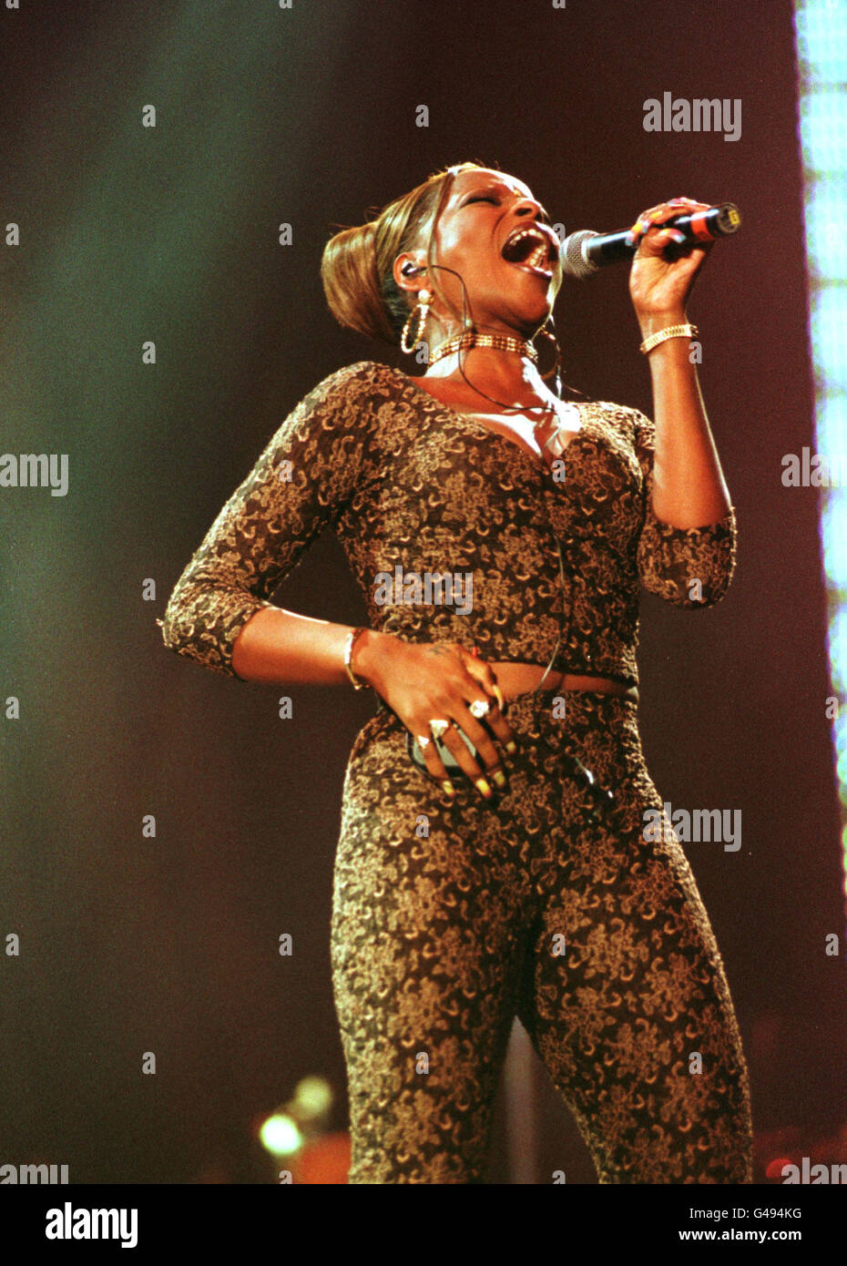 Mary J. Blige performs at the Sounds and Visions concert at Wembley Stadium in celebration of the greatest hits - Stock Image