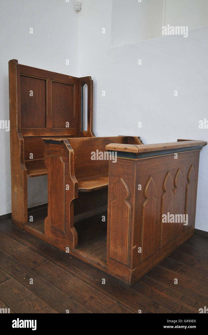 Old church pew (bench) - Stock Image