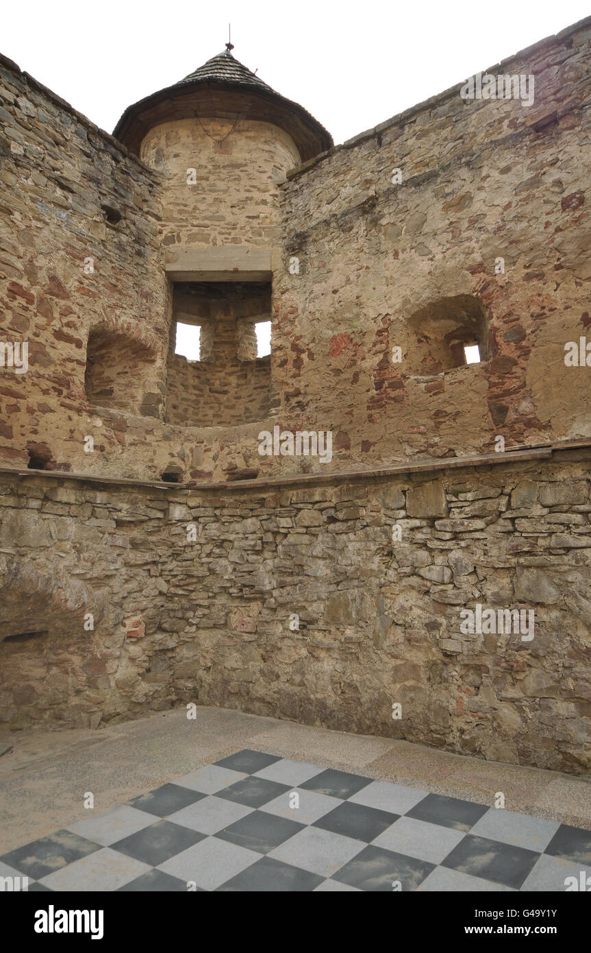 Chessboard inside castle walls - Stock Image
