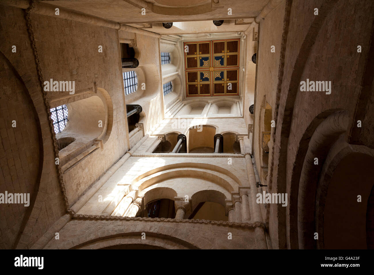 Looking up above The Baptistry in Chichester Cathedral, Chichester, West Sussex, England, United Kingdom, Europe - Stock Image