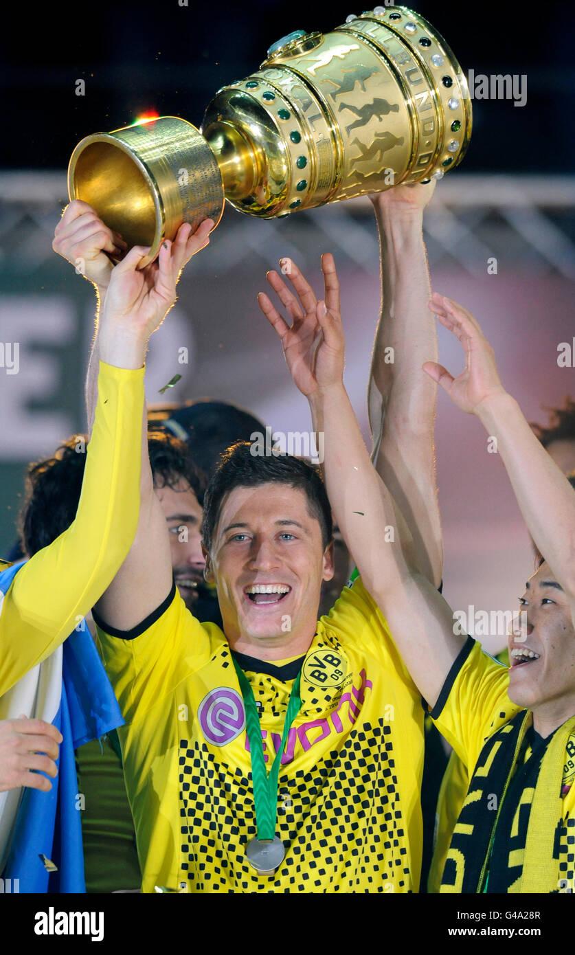 Cheering, Robert Lewandowski holding the Cup, DFB Cup final, BVB or Borussia Dortmund vs FC Bayern Munich 5-2, 05/12/2012 - Stock Image