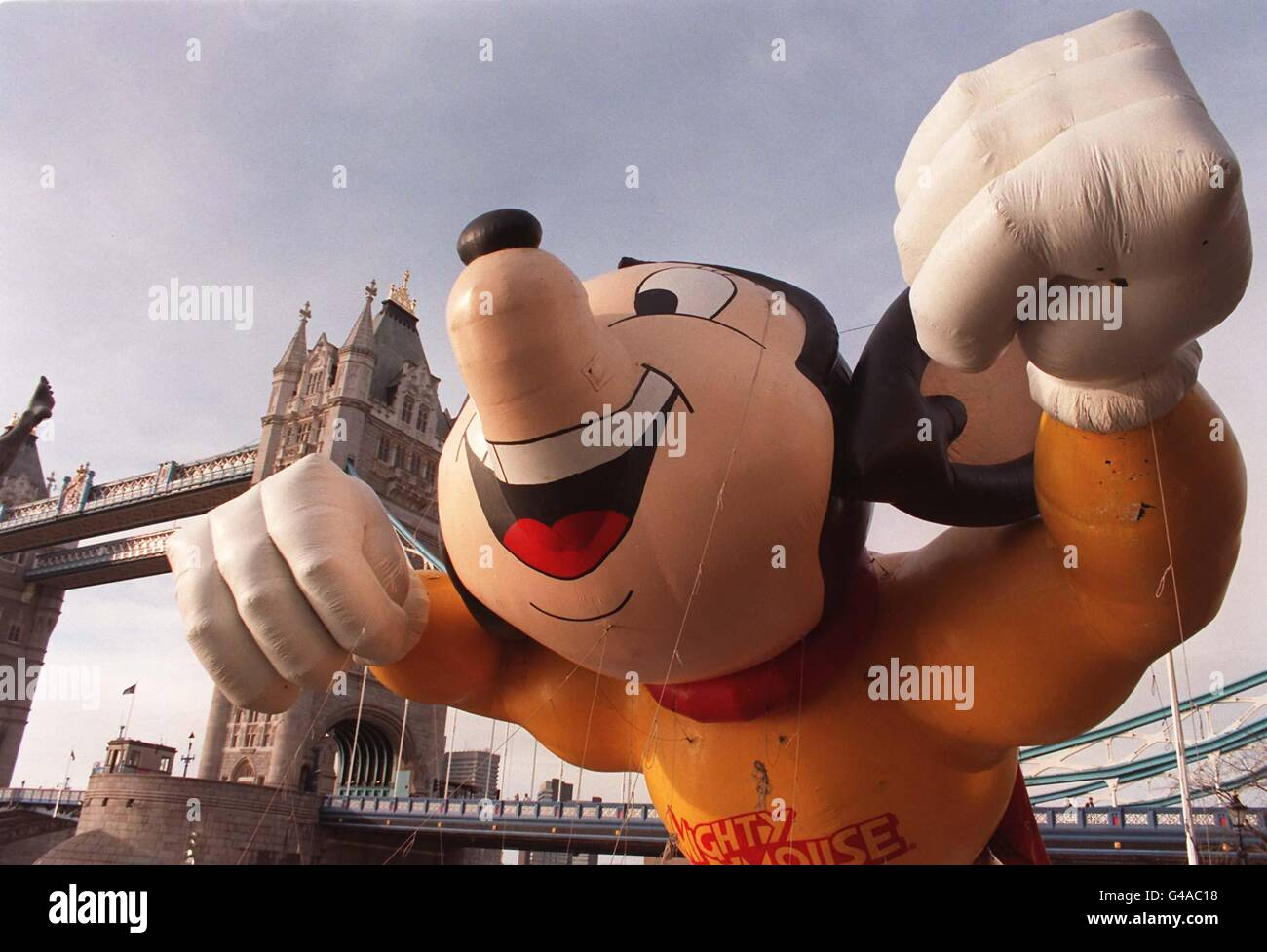LONDON PARADE Mighty Mouse Inflatable - Stock Image