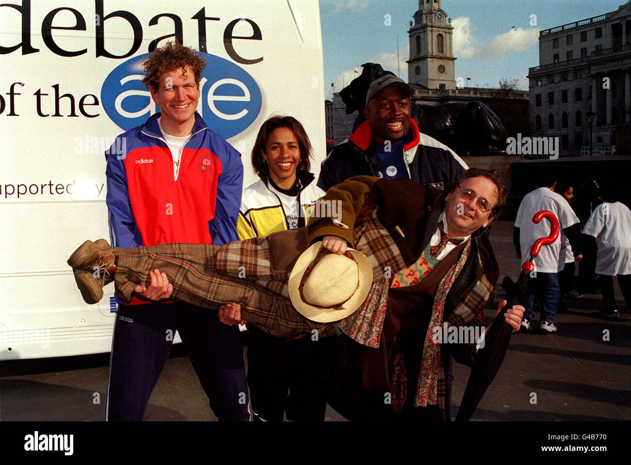 PA NEWS PHOTO 5/3/98  CELEBRITIES JOIN TOGETHER IN LONDON FOR THE LAUNCH OF THE MILLENNIUM DEBATE OF THE AGE. SYLVESTER - Stock Image