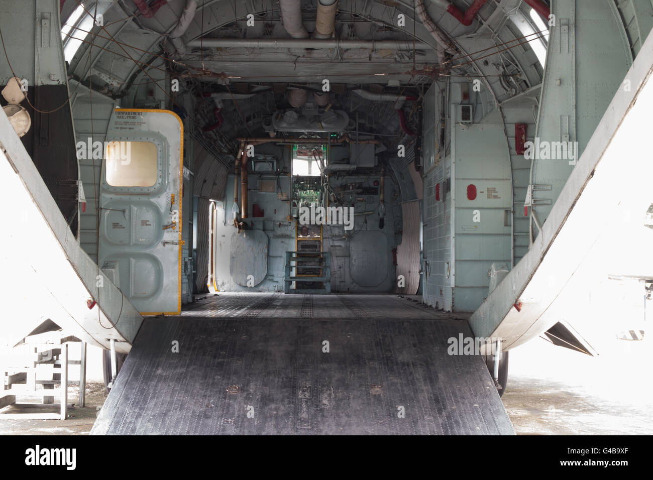 Cargo compartment of military transport jet - Stock Image