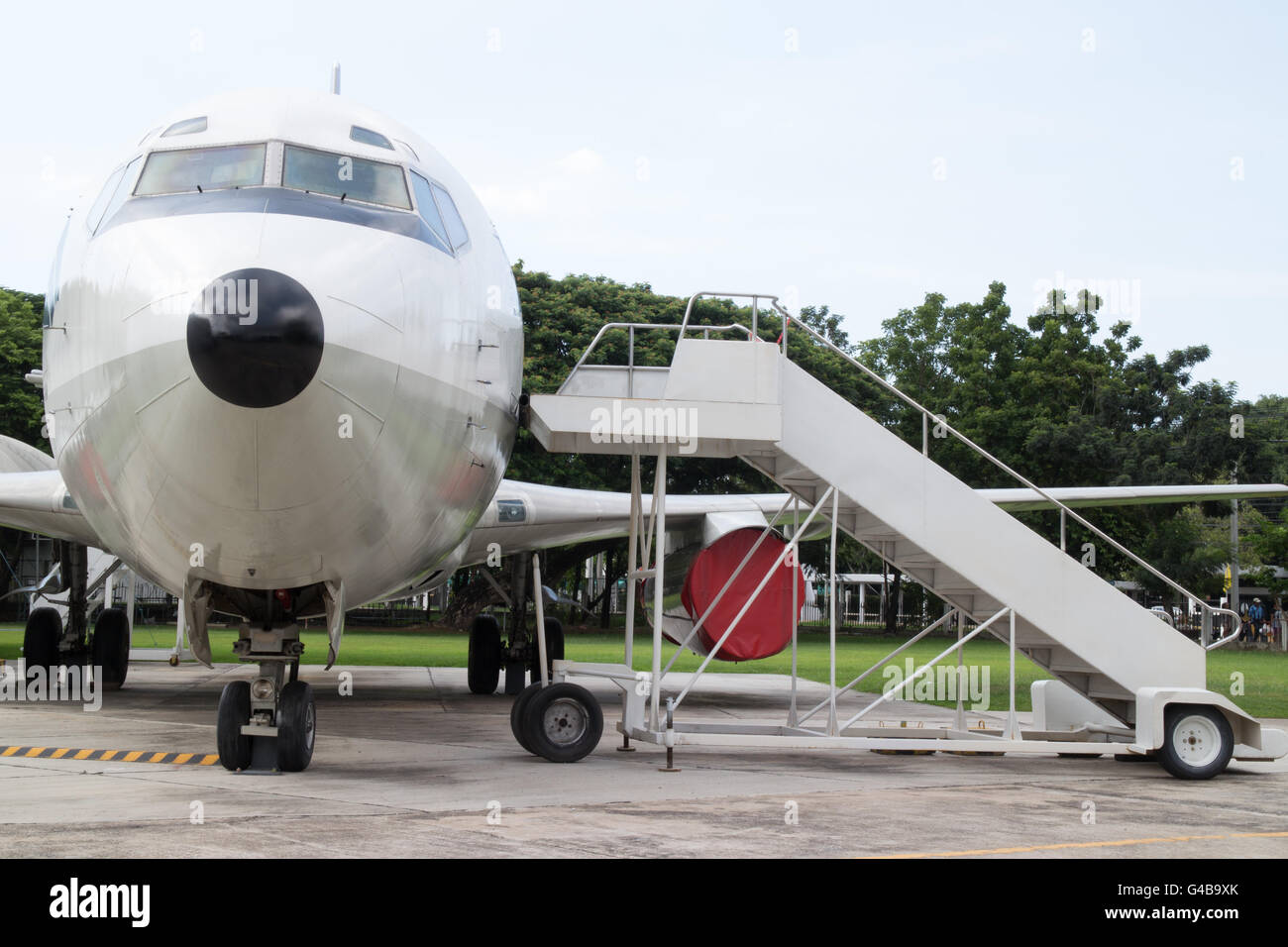 Airplane Nose With Passenger Stairs   Stock Image