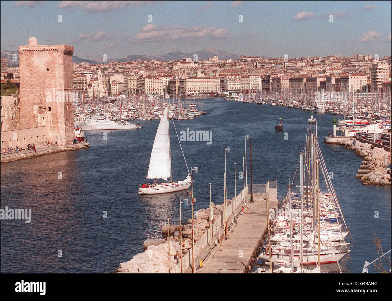 1998 World Cup AFP PHOTO View of the entrance of the old port in Marseille, taken 12 April. Marseille is one of - Stock Image
