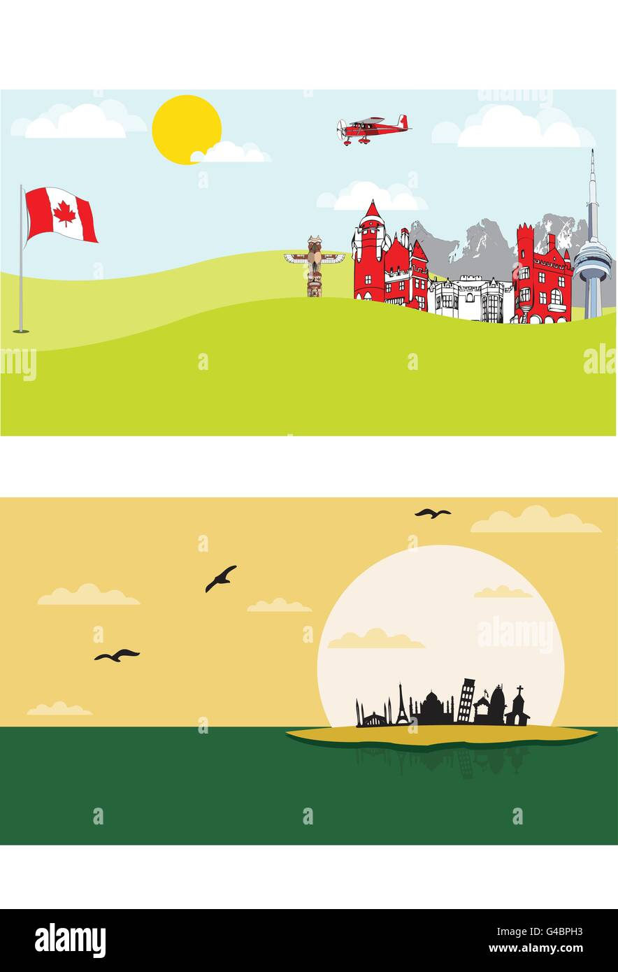 Canada and Haunted City - Stock Vector