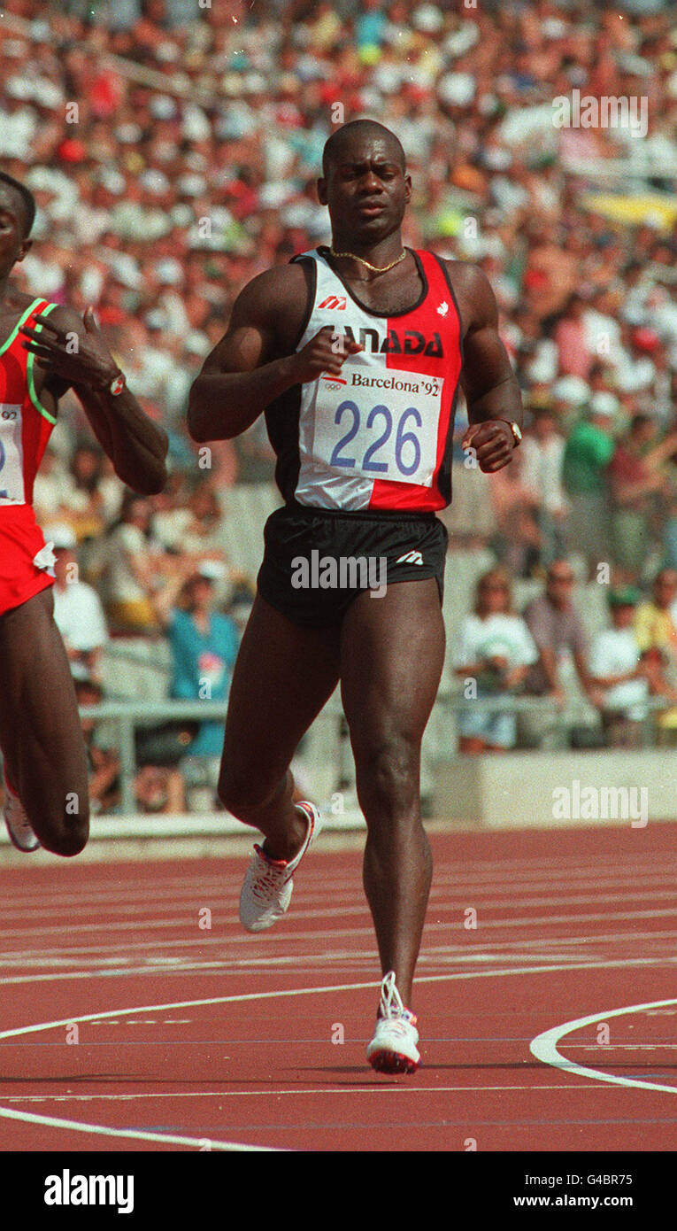 PA NEWS PHOTO 31/7/92  CANADIAN SPRINTER BEN JOHNSON IN THE 100M RACE WHERE HE FINISHED SECOND IN THE BARCELONA - Stock Image