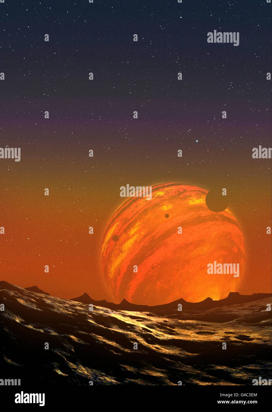 Illustration of a free-floating planet. PSO J318.5-22 is a planet in the constellation of Pictor, around 80 light - Stock Image