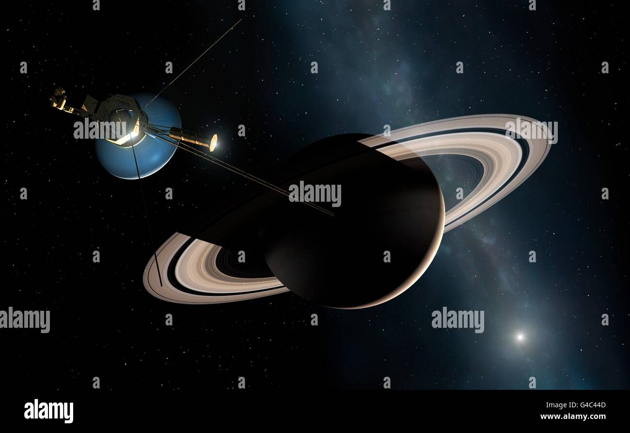 Voyager spacecraft at Saturn, artwork. Two Voyager ...