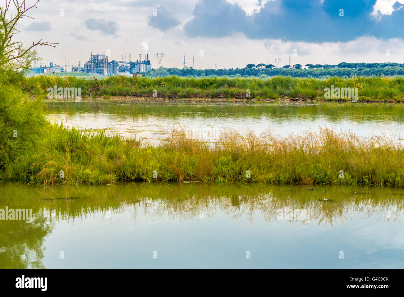 brackish lagoon with industries in the background in Italy Stock Photo