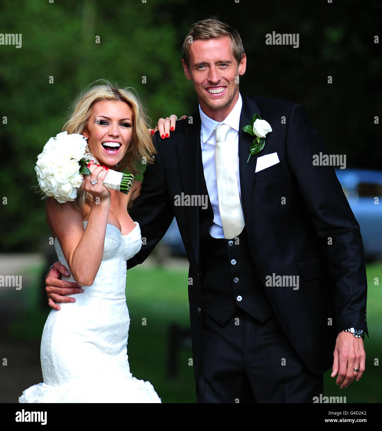 peter crouch and abbey clancy wedding stock photo