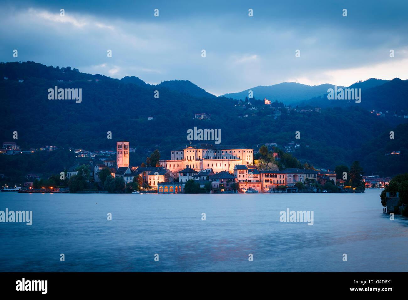 Benedictine Abbey Mater Ecclesiae on the San Giulio island on Lake Orta, Orta San Giulio, Piedmont, Italy. Stock Photo