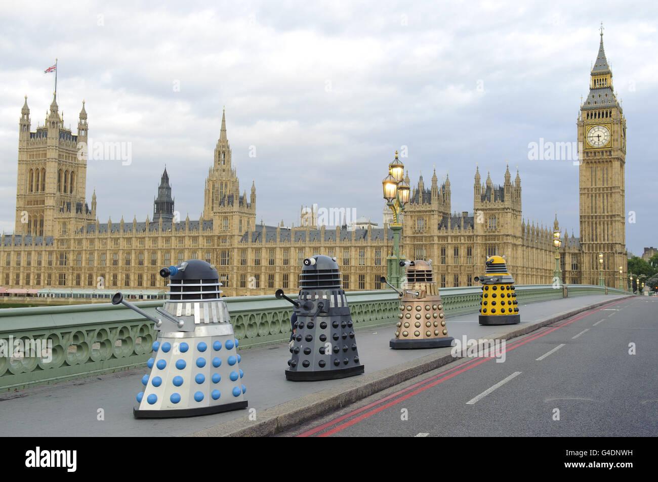 Daleks on Westminster Bridge - Stock Image