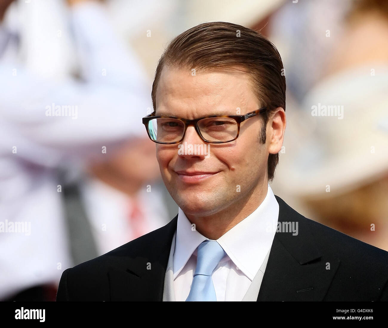 Prince Daniel, Duke of Vastergotland arrives at the Place du Palais, Monte Carlo, for the religious ceremony of the wedding of Charlene Wittstock to Prince Albert II of Monaco. Stock Photo