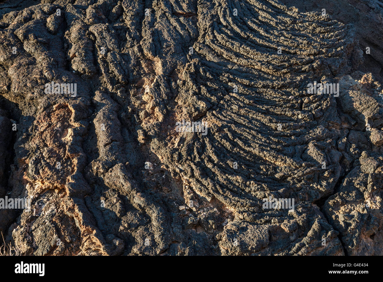 Pahoehoe lava field, Carrizozo Malpais lava flow at Valley of Fires Recreation Area, Tularosa Basin near Carrizozo, - Stock Image