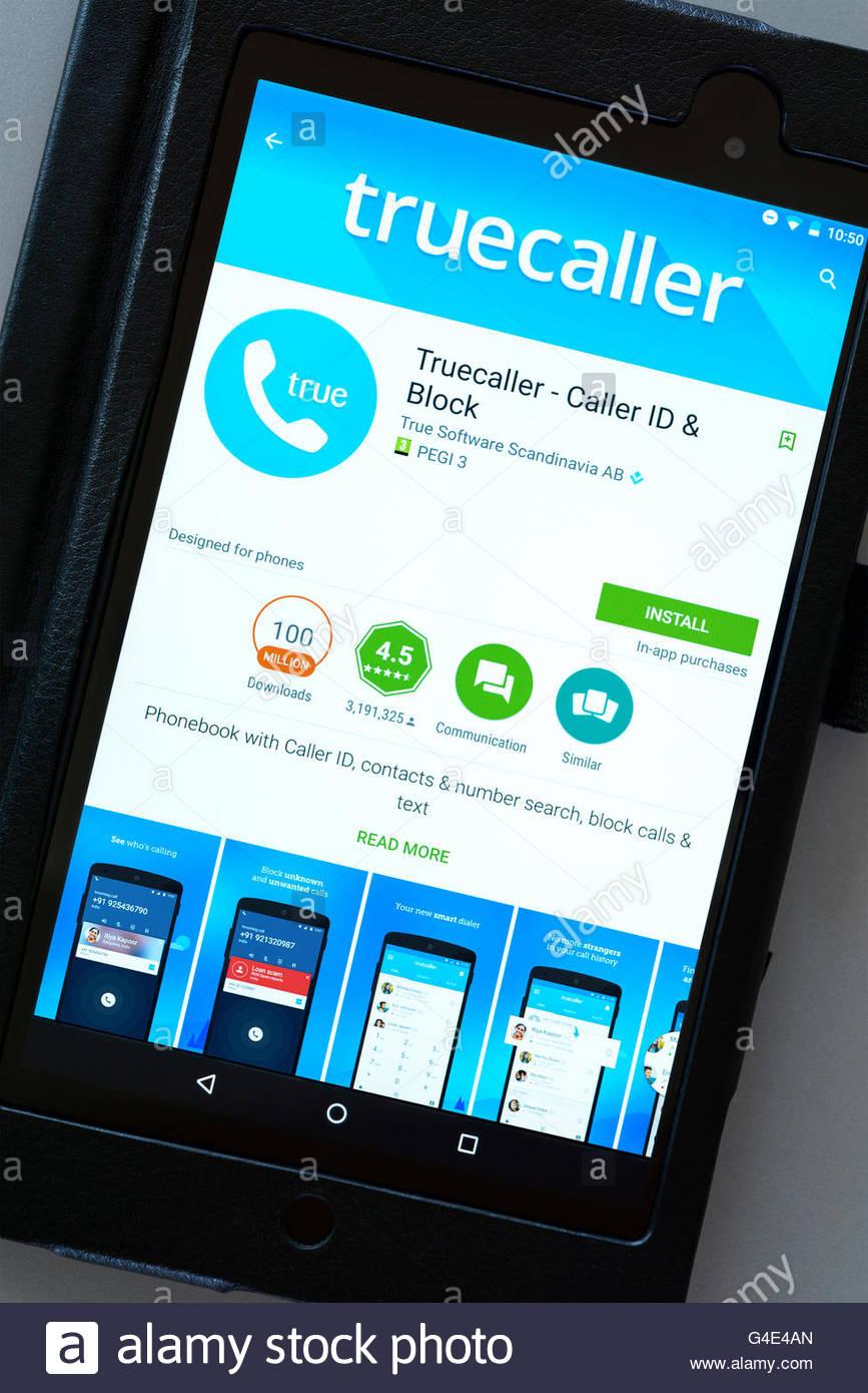 Truecaller phone caller ID app shown on a tablet computer