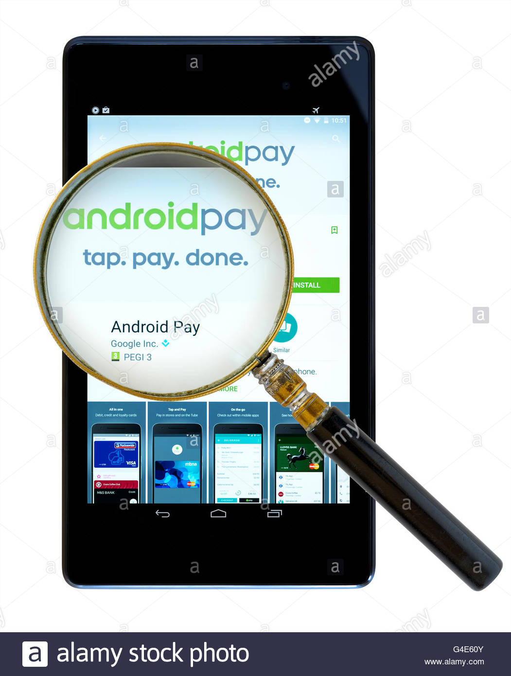 Android Pay digital wallet app shown on a tablet computer