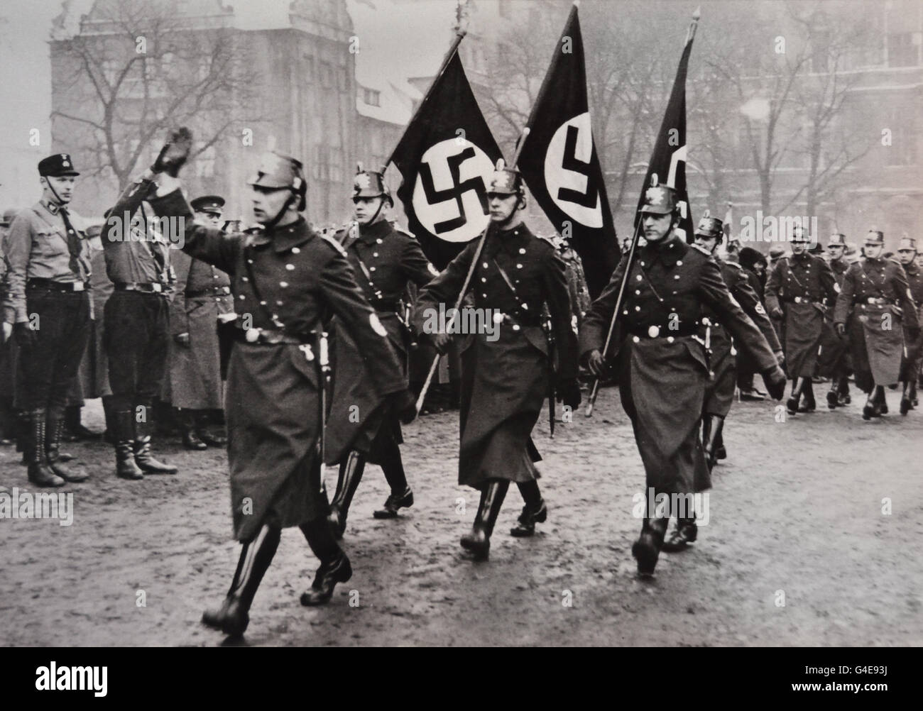 Berlin police detachment march at a Nazi Part rally March 1933 (  Topographie of Terror historical museum on site - Stock Image