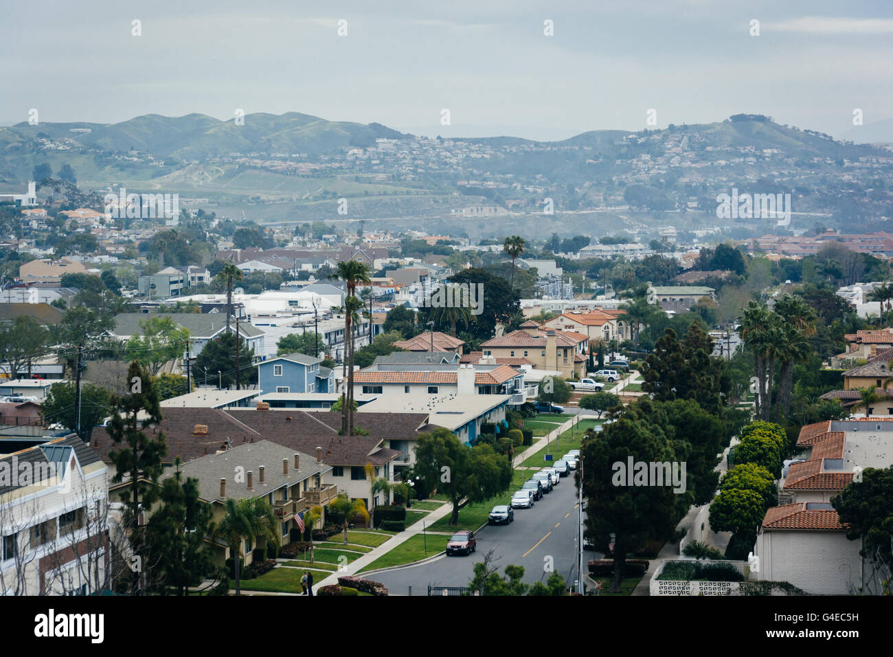 View of houses and hills in Dana Point, California. - Stock Image