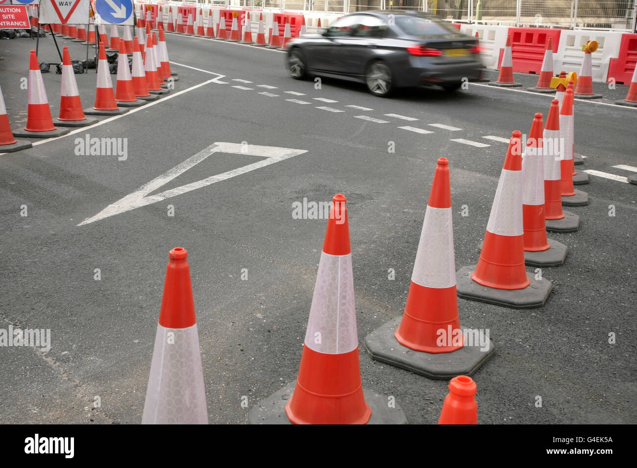Road cones at section of roadworks. - Stock Image