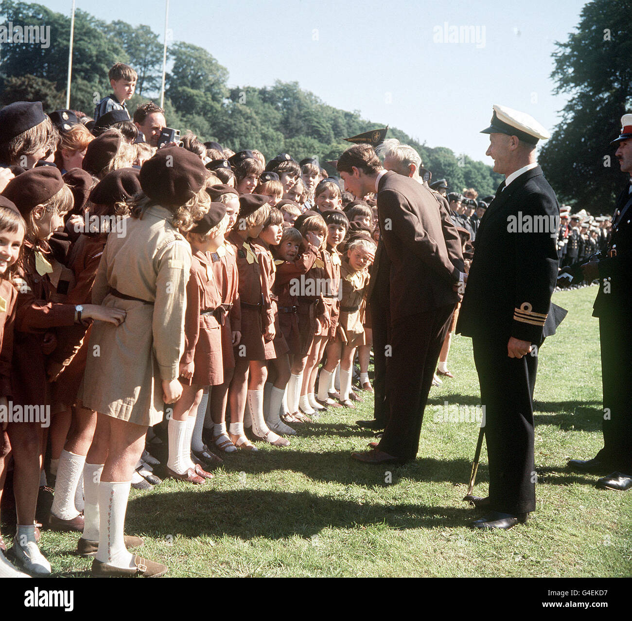 PA NEWS 4/7/69 THE PRINCE OF WALES CHATTING TO BROWNIES AT THE RUGBY GROUND, PONTYPOOL DURING THE TOUR OF WALES - Stock Image
