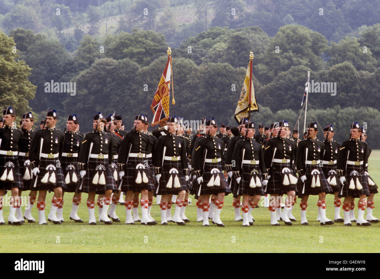 Military - 1st Battalion of the Queen's Own Highlanders - Tidworth - Stock Image