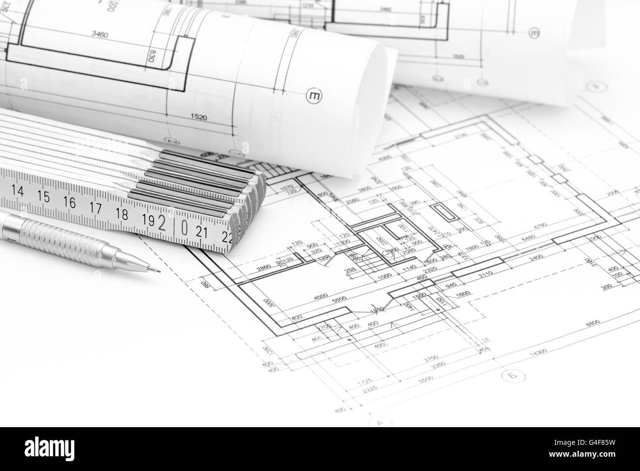 Architect workspace blueprint rolls floor stock photos architect architect workspace with plan blueprint rolls folding rule and pencil stock image malvernweather Images