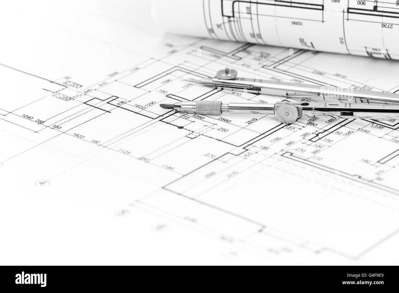 Architectural background with plan blueprint roll and drawing stock architectural background with plan blueprint roll and drawing compass malvernweather Images