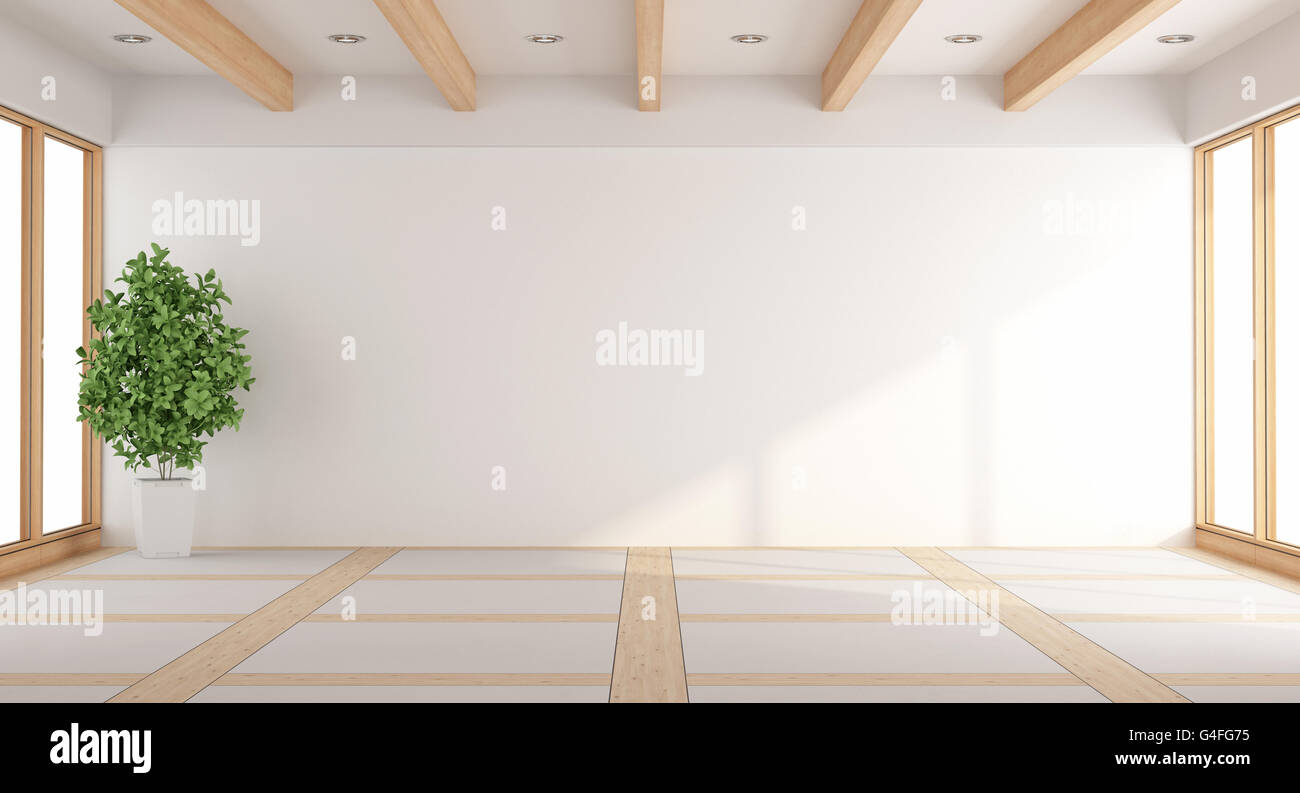 Empty white living room with windows and wooden beams - 3d rendering ...