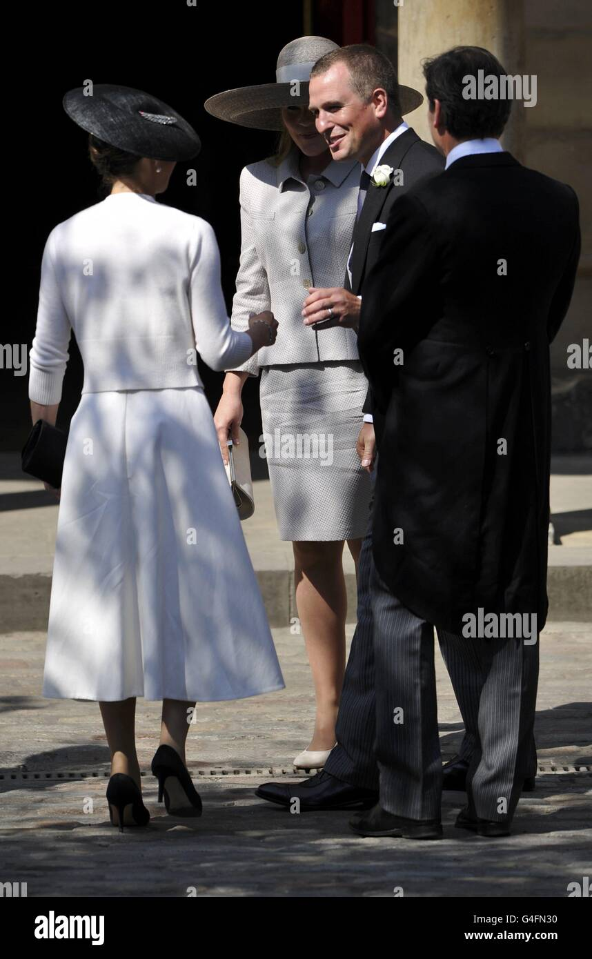 Guests arrive before the marriage of Britain's Zara Phillips and Mike Tindall at Canongate Kirk in Edinburgh - Stock Image