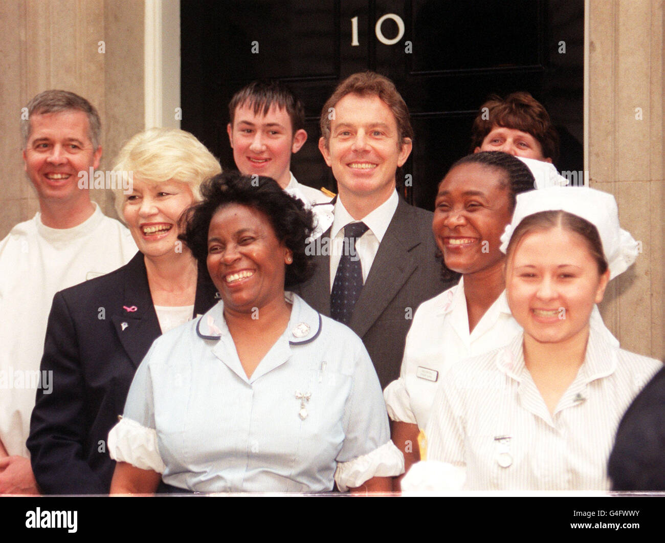 Tony Blair with seven nurses from Sandwell Healthcare NHS Trust - West Midlands - Stock Image
