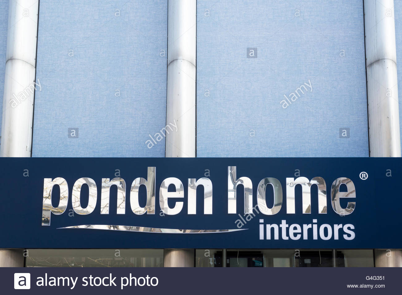 Close-up of the Ponden Home Interiors sign above the entrance of the Poole, Dorset shop. - Stock Image