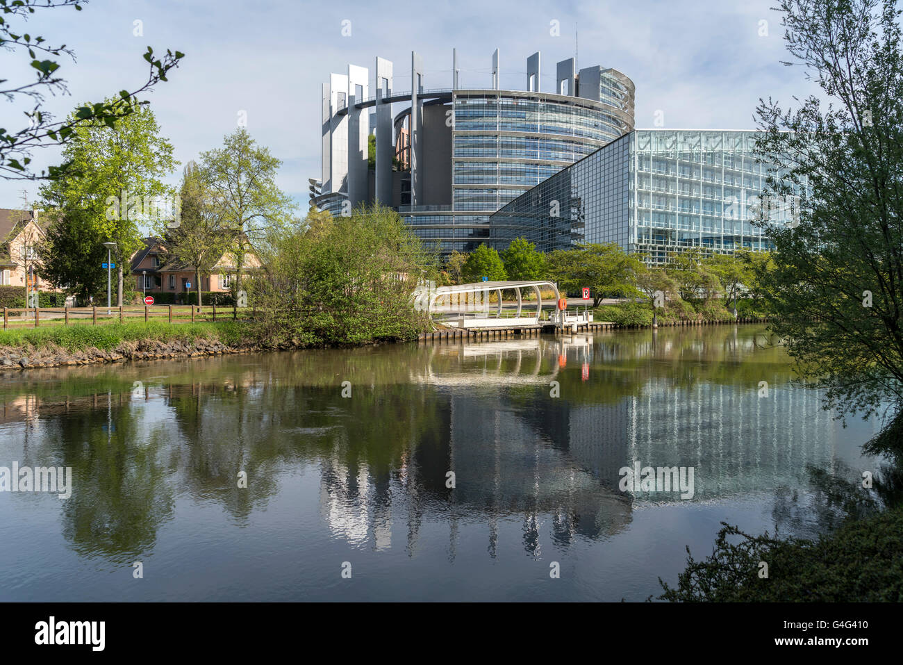 European Parliament building in Strasbourg,  Alsace, France Stock Photo