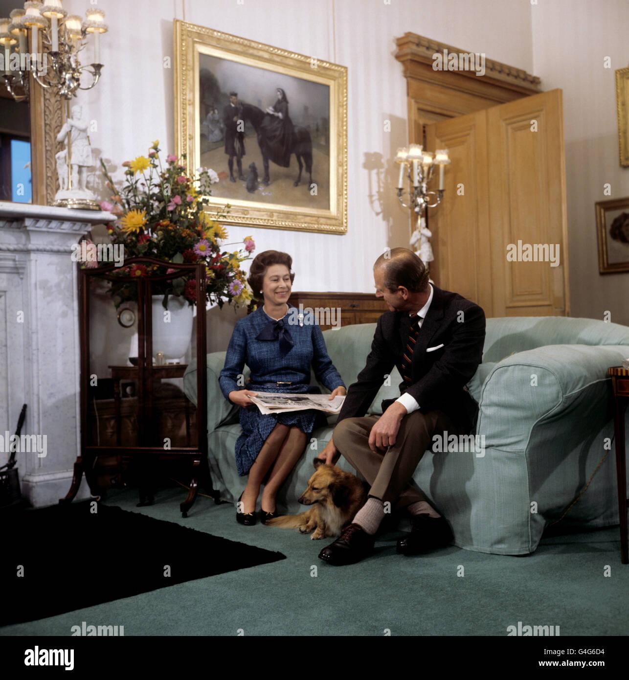 Royalty - Queen and Duke of Edinburgh Summer Break - Balmoral Castle Stock Photo