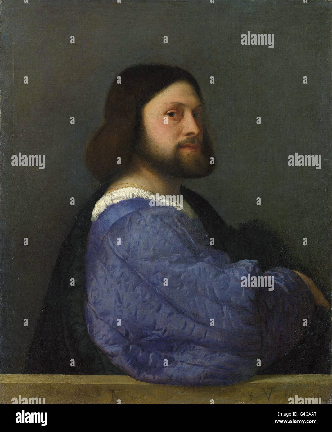 Titian - A Man with a Quilted Sleeve - Stock Image