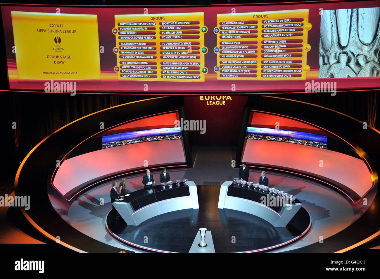 soccer uefa europa league group stage draw grimaldi forum stock photo alamy https www alamy com stock photo soccer uefa europa league group stage draw grimaldi forum 106087006 html