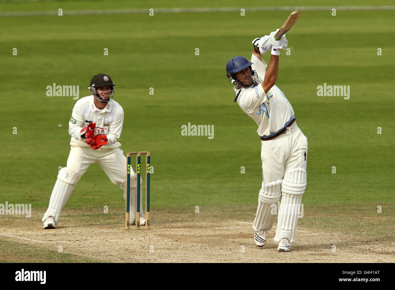 Cricket - Liverpool Victoria County Championship - Division Two - Day Three - Surrey v Derbyshire - The Kia Oval - Stock Image