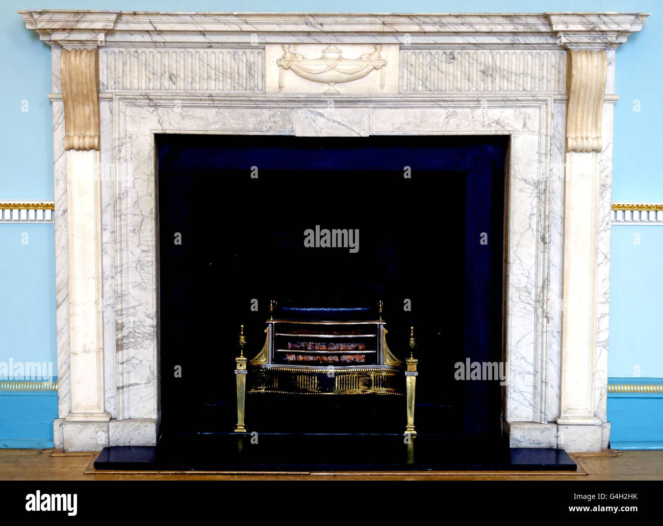 Fireplace designed by Robert Adam in Newark Town Hall, Nottinghamshire, England - Stock Image