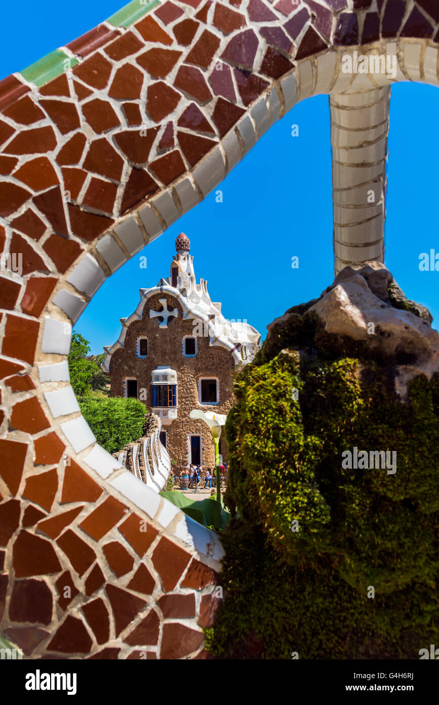 Park Guell, Barcelona, Catalonia, Spain - Stock Image