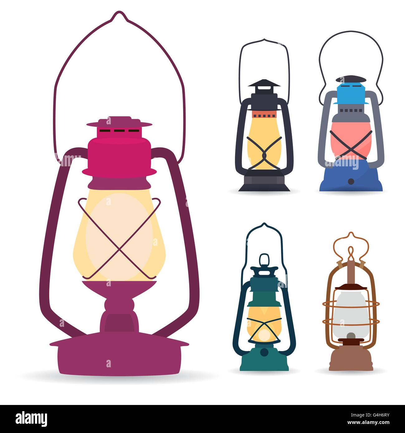 Set of different types of oil lamps in a flat style . Vector ill - Stock Vector