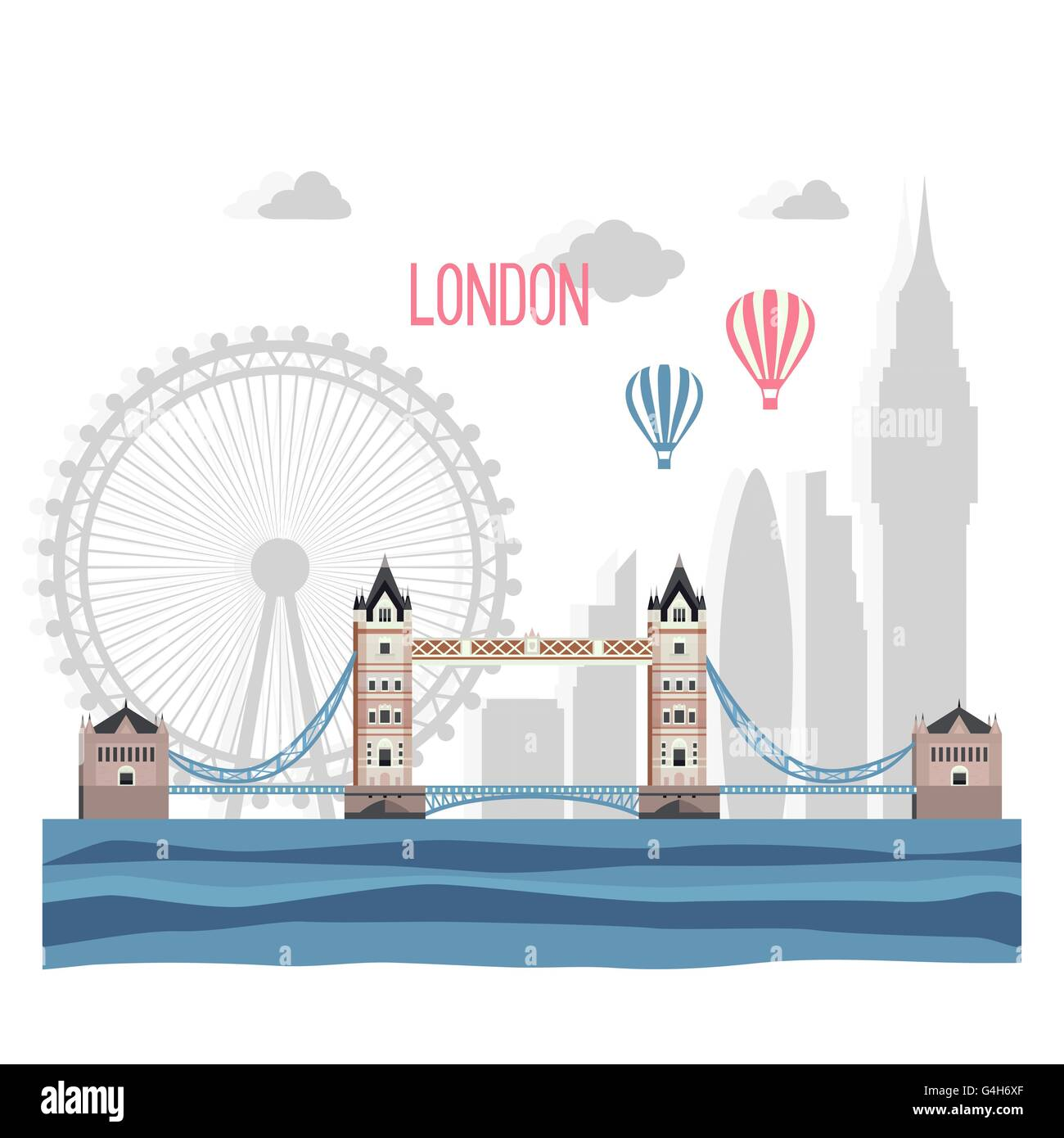 London  abstract silhouette on white  background. Vector flat il - Stock Image