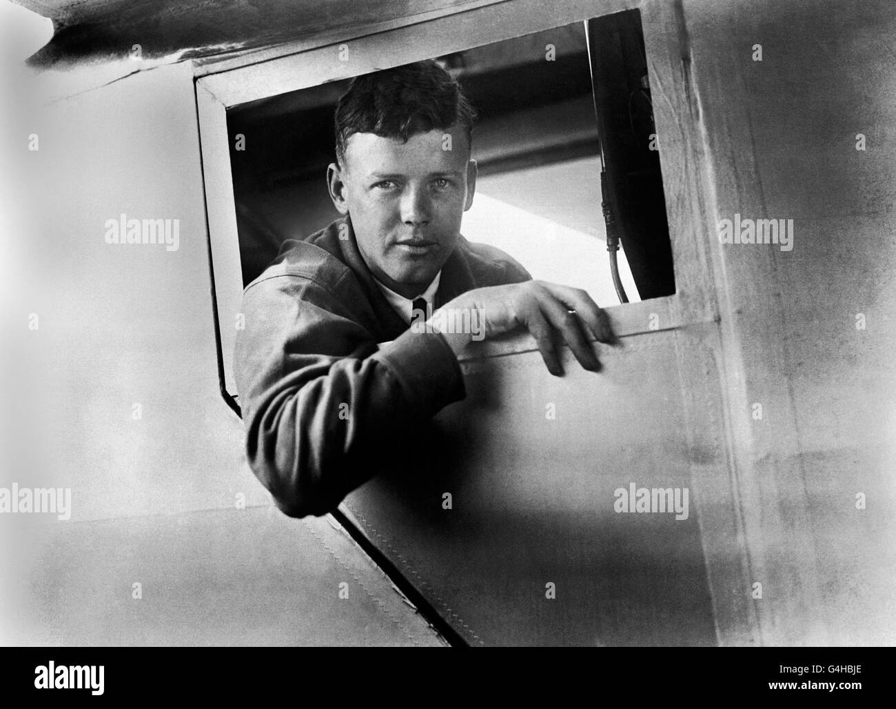 Aviation - Captain Charles Lindbergh - Spirit of St Louis - Croydon Airport - Stock Image