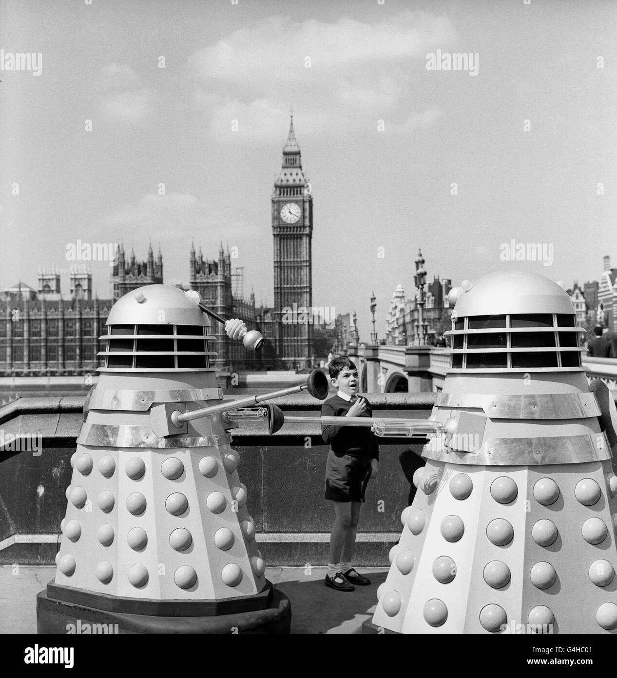 Andrew Meets The Daleks on Westminster Bridge - Stock Image