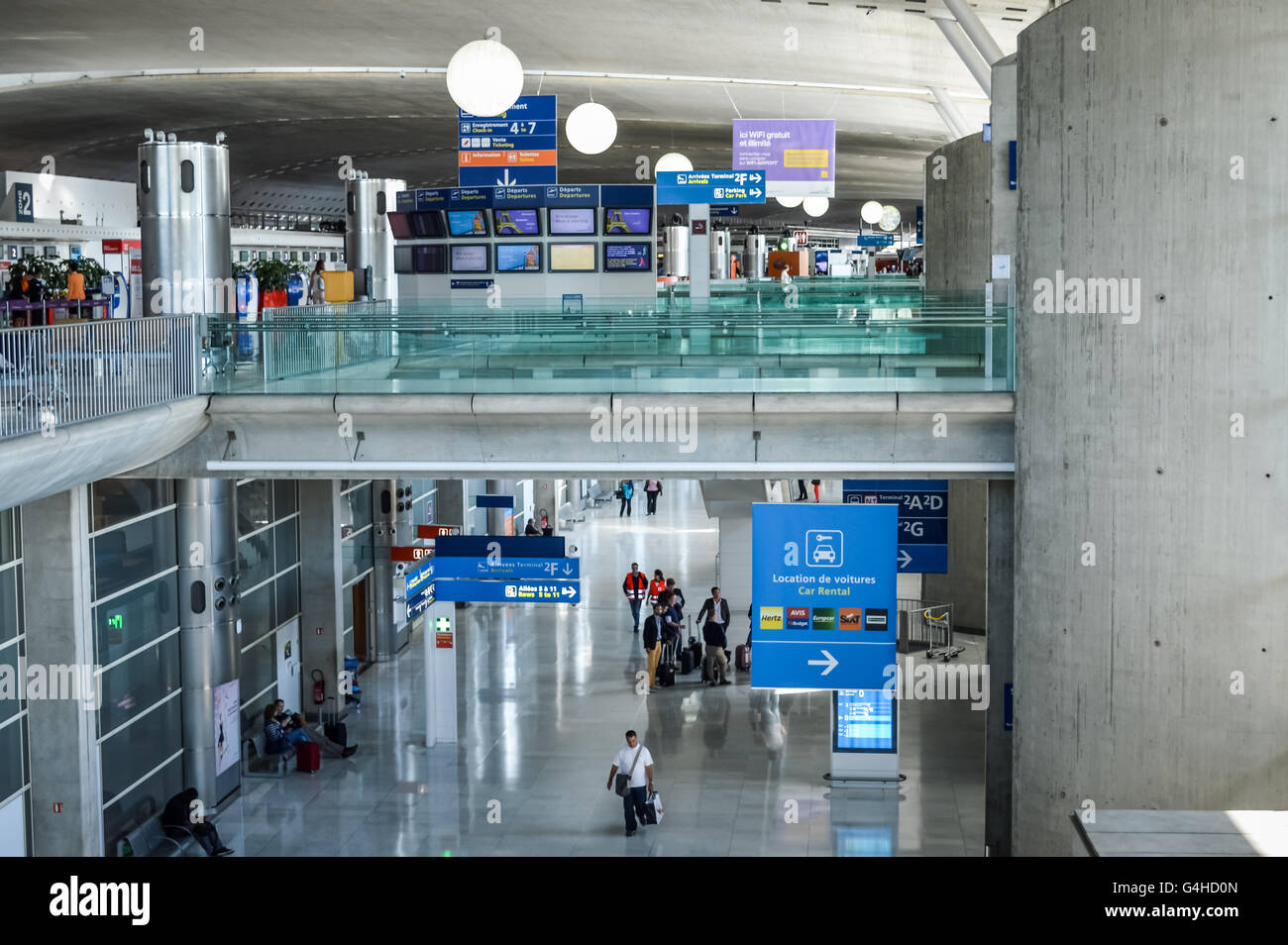 Airport hall - Charles de Gaulle terminal F in Paris, France - Stock Image