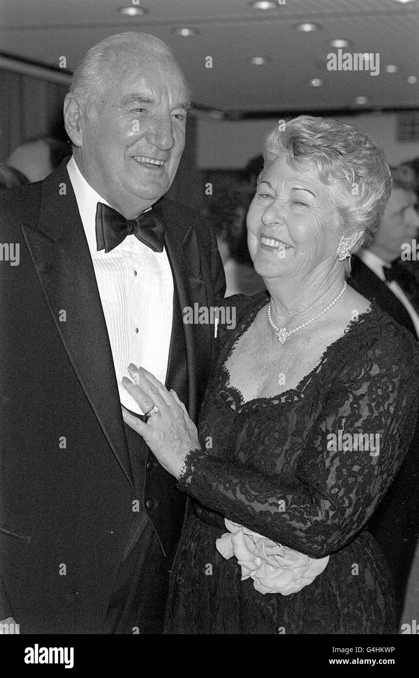 Tennis - Fred Perry with wife Barbara - Broadcasting House, London - Stock Image