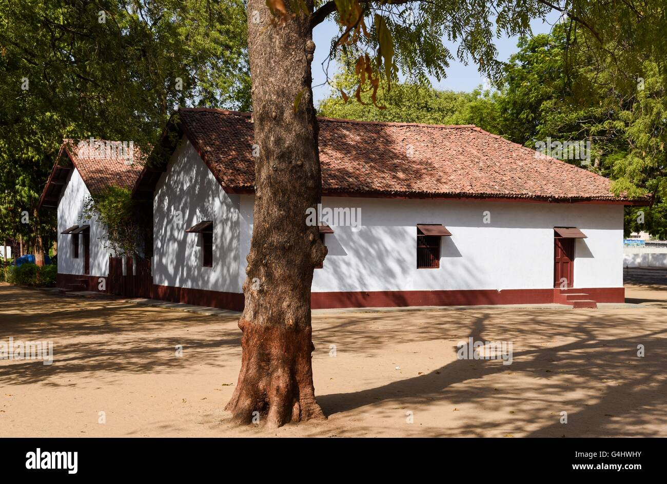 Huts in Sabarmati Ashram near Ahmedabad, India - Stock Image