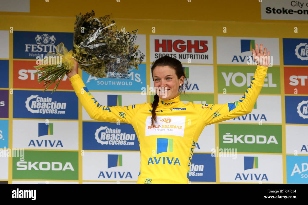 8bbc6213c Boels Dolmans Cycling Team Lizzie Armitstead celebrates retaining the  yellow jersey after stage four of the