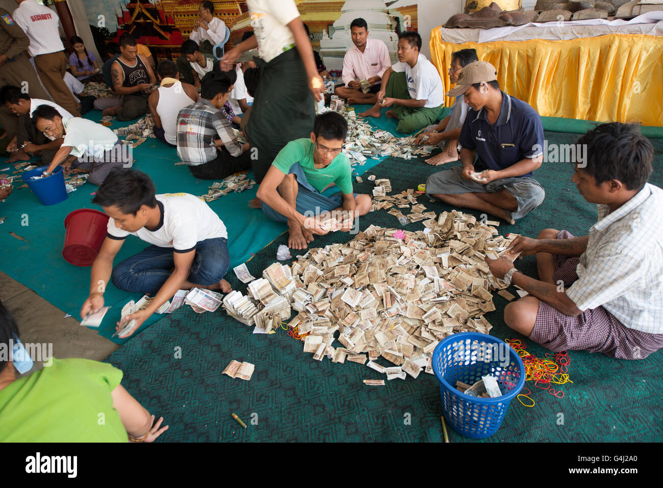 People counting the money alms collecting, Shwezigon Pagoda, Nyanung-U, Mandalay Region, Myanmar - Stock Image