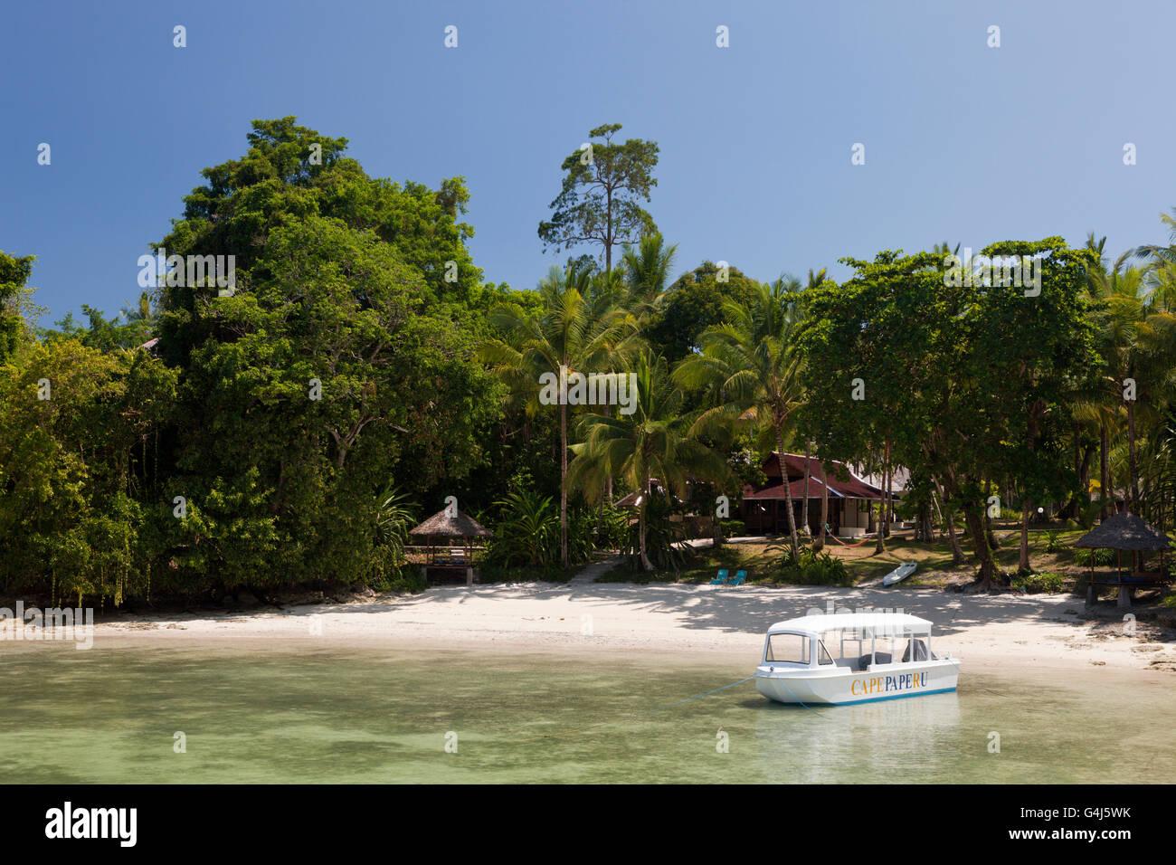 Beach of Capepaperu Resort, Ambon, Moluccas, Indonesia Stock Photo